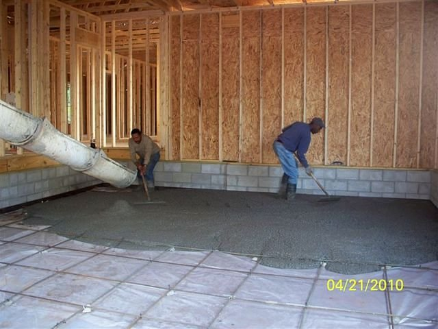 Laying cement for garage