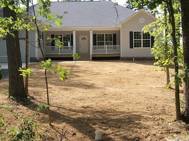 Completed Front Exterior in Landscaping Stage