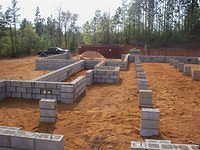 Concrete foundation footings